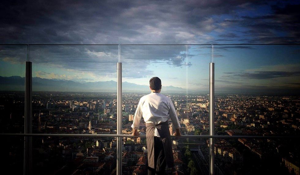 The view of the restaurant over Turin.
