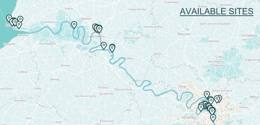 Map of available sites along Paris, Rouen and Le Havre.