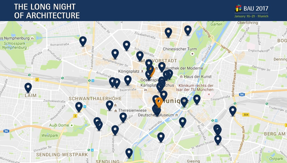 "Map with some of the locations for ""The Long Night of Architecture 2017"", in Munich."