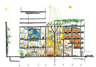 Sketches of the building project