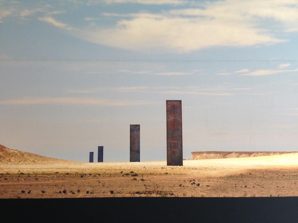 "General view of Richard Serra's Richard Serra's ""East West / West East"" sculpture"