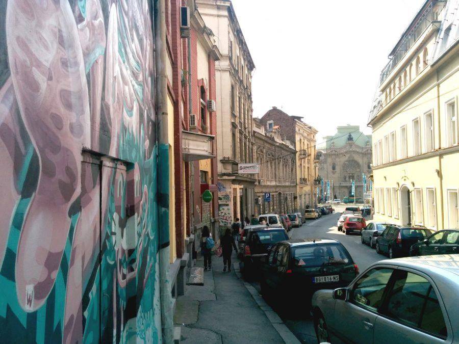 One of Savamala's main areas, with street art identifying a building's façade.