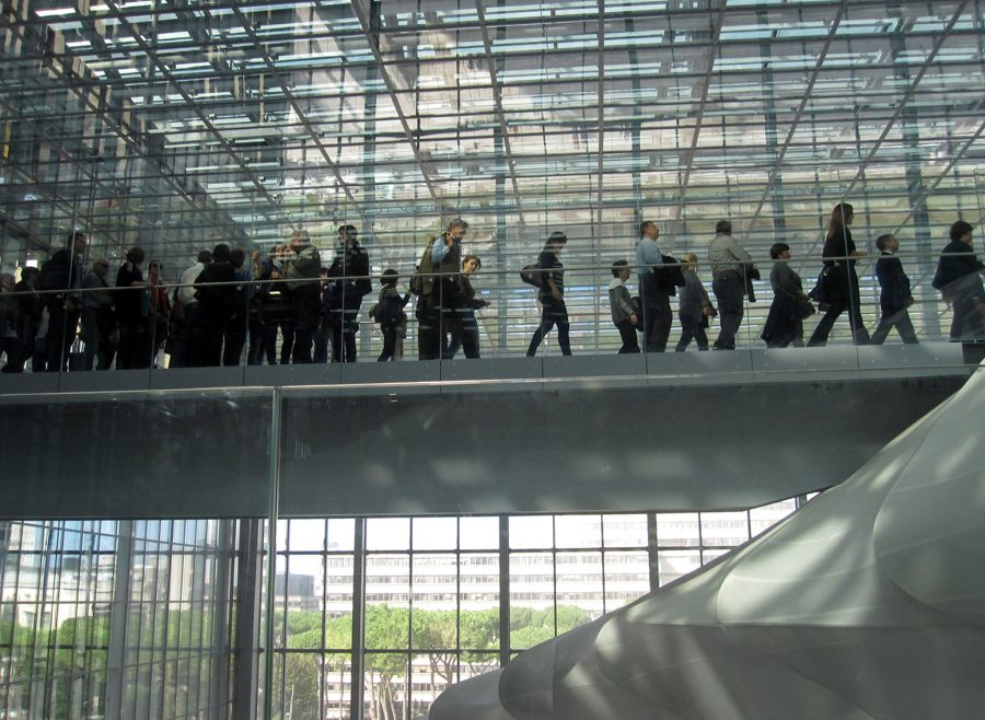 The visitor's movement inside Rome's new convention center and hotel, at EUR district.