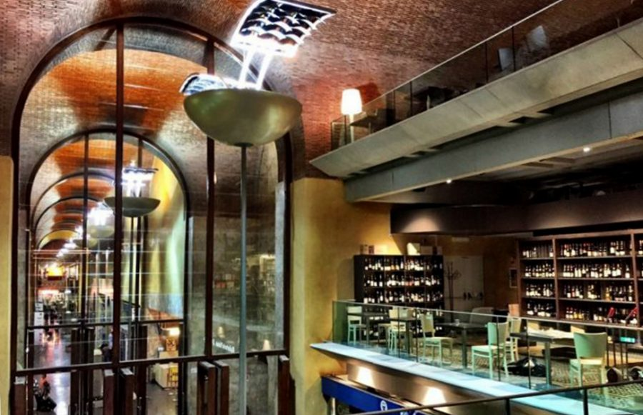 """Two different floors in Rome's """"Mercato Centrale""""."""