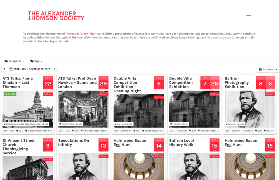 A printscreen of Alexander Thomson Society's website, showing some of the many activities announced for the celebration of his 200th anniversary.