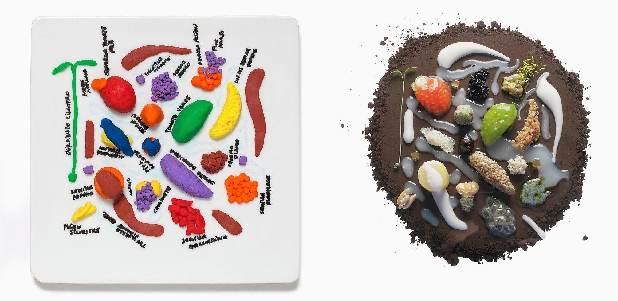 Plasticine models of food by chef Ferran Adrià, owner of El Bulli restaurant .