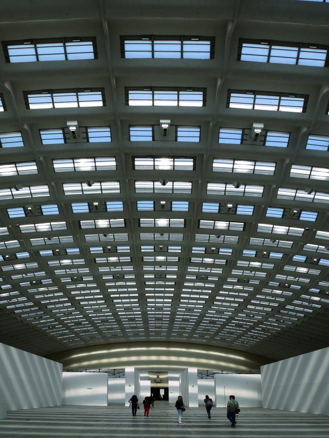 """""""Torino Esposizioni"""" hall indoors, with Nervi's very own ceiling."""