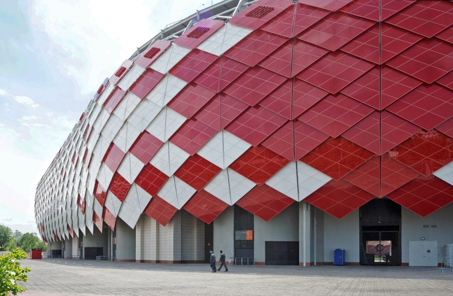 Overlapping red and white diamonds coat the Spartak Stadium building.