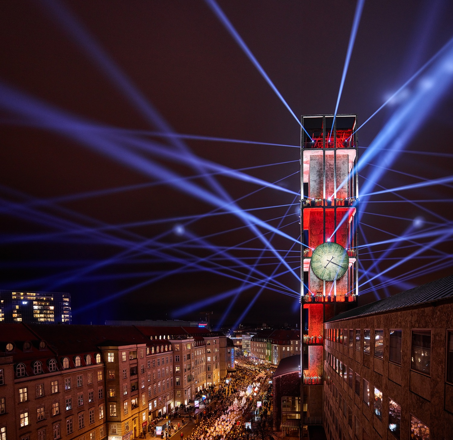 The opening ceremony for Aarhus' European Capital of Culture program included an impressive light show.