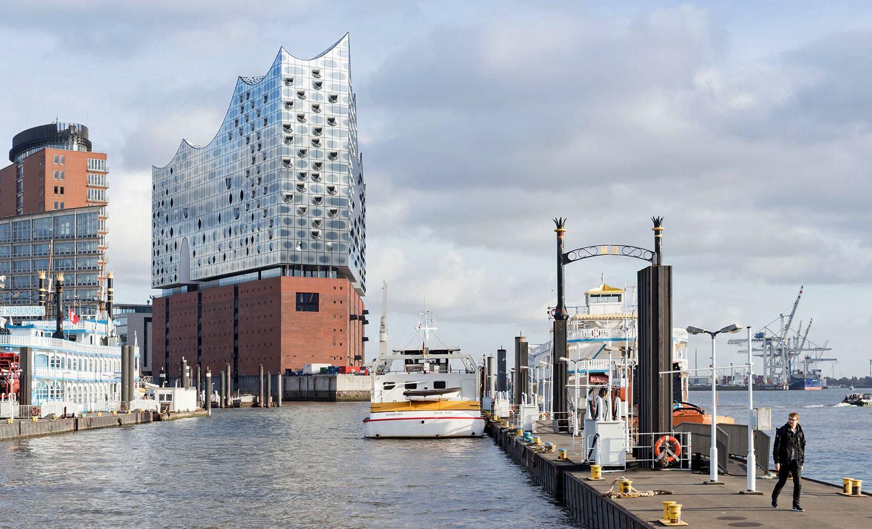 Hamburg Elbphilharmonie in its harbor surroundings.