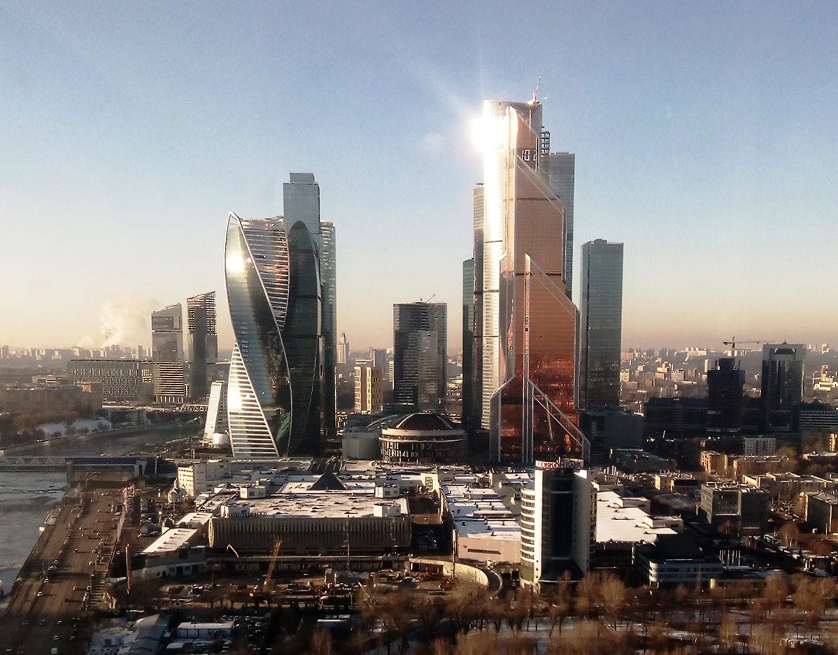 Moscow city with some of its most iconic high-rise buildings.