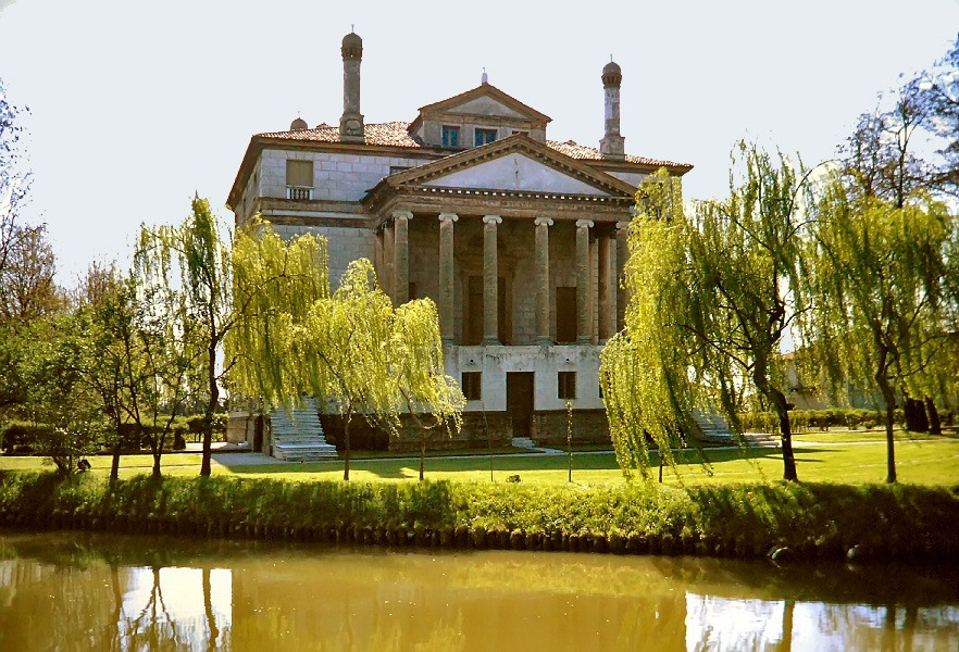 Villa Foscari in Italy as seen from the Brenta river.