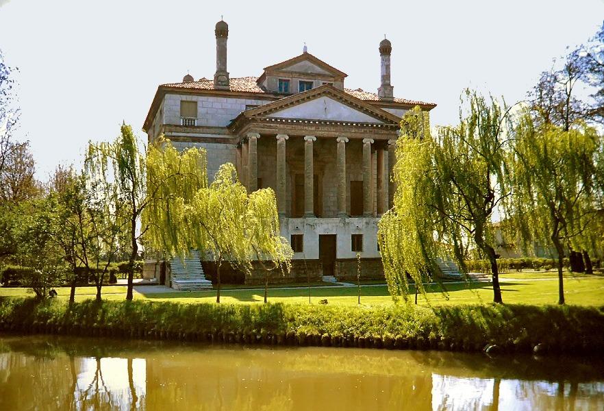 Villa Foscari in Italy as seen from the Brenta river.