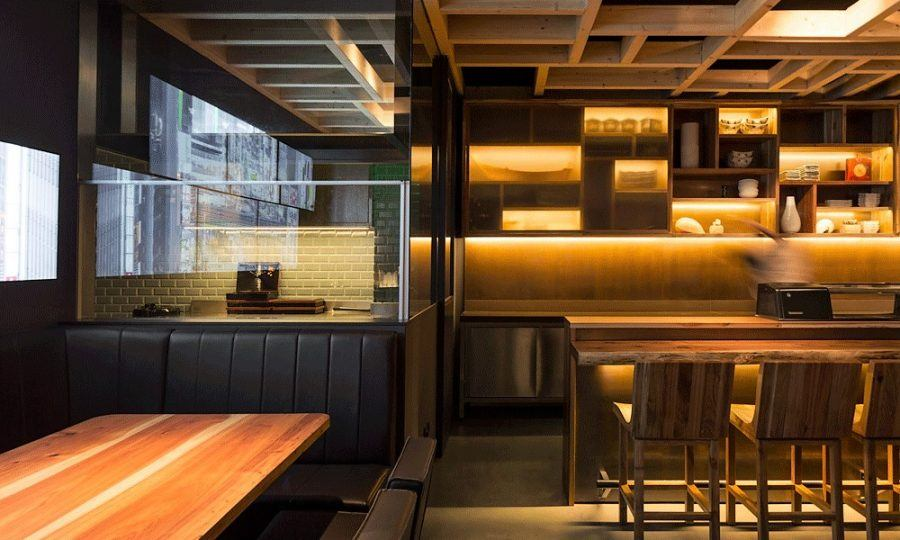 The restaurant designed by Promontorio is called Go Juu and was intended to have a special timber feel.