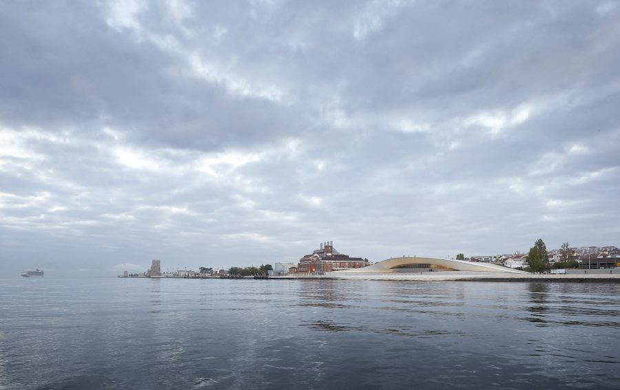 MAAT as seen from a boat cruising the Tagus towards the Atlantic Ocean. Copyright: Hufton Crow.