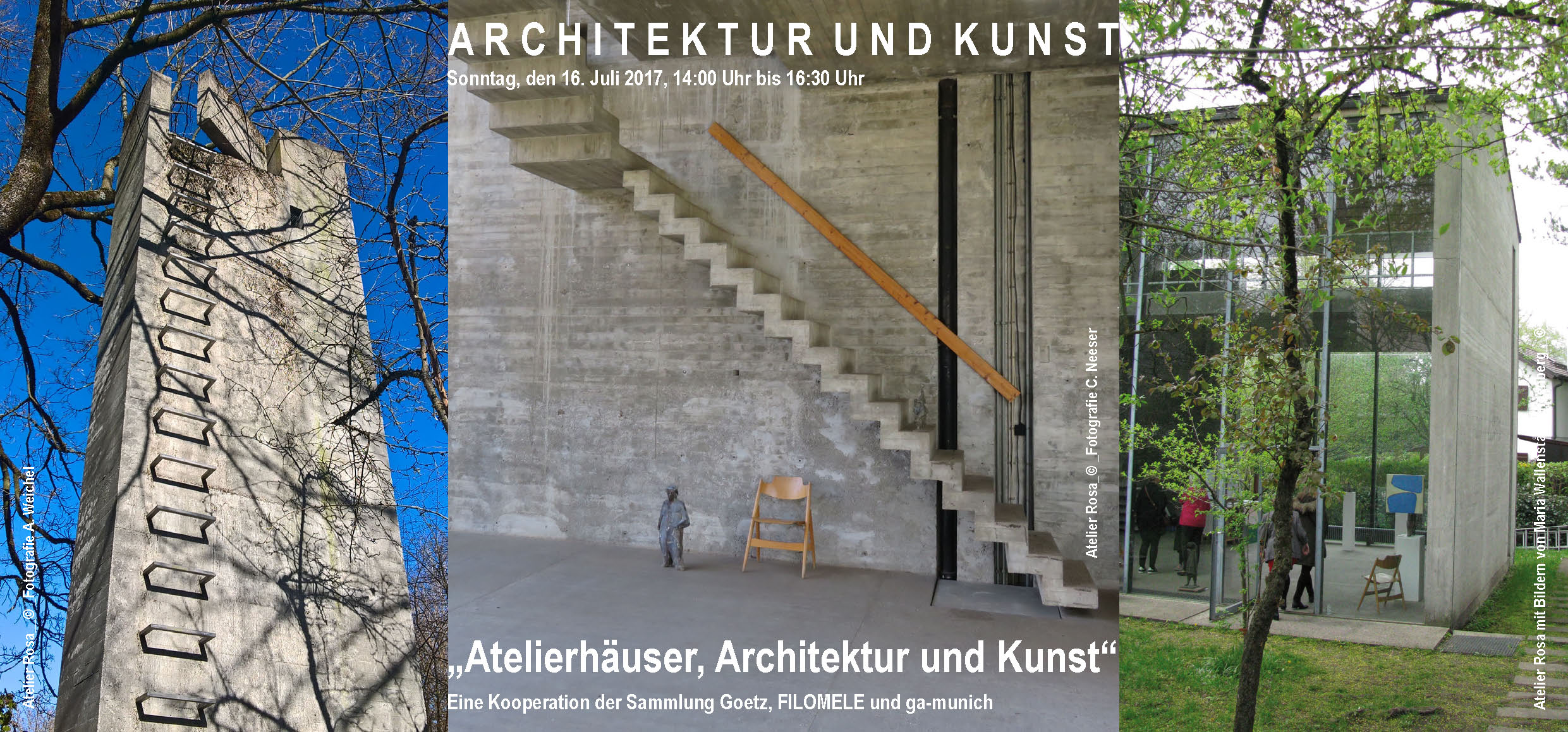 "The flyer advertising Guiding Architects Munich's tour on ""Architecture and Art"". Copyright: The authors of the images are identified in the flyer."