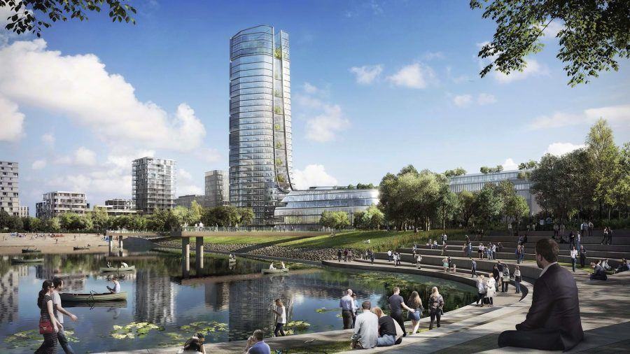 The MOL Campus tower and the BudaPart quarter. Copyright: MOL – Foster + Partners.