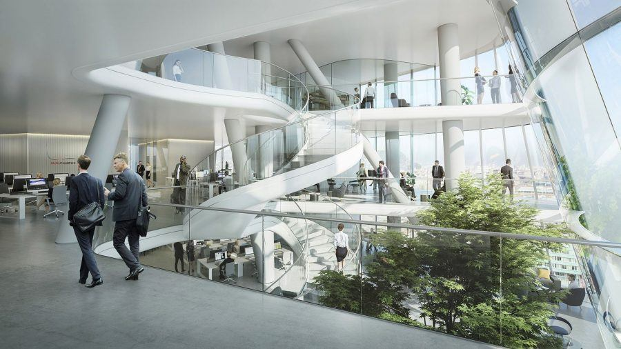 The atrium of the MOL Campus. Copyright: MOL – Foster + Partners.