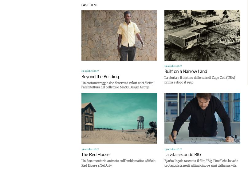 Some of the films presented at Milan Design Film Festival had architecture as their main theme, as shown on this printscreen from the event's website.