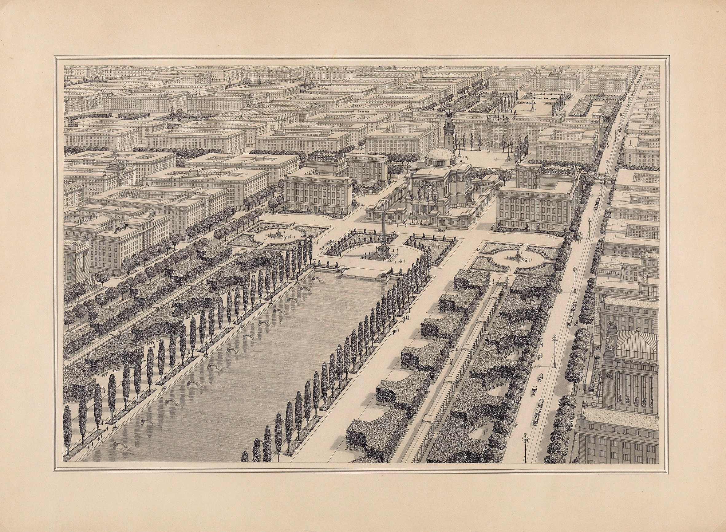 "Otto Wagner's ideal proposal for Vienna's 22nd municipal district, for the study ""The Metropolis"" (1911), as presented in the exhibition at Vienna Museum. Copyright: Wien Museum."