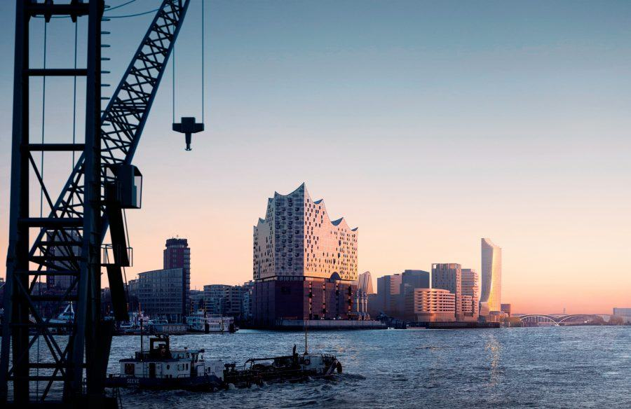 The west view on the Elbtower. Copyright: SIGNA Chipperfield for HafenCity Hamburg GmbH.