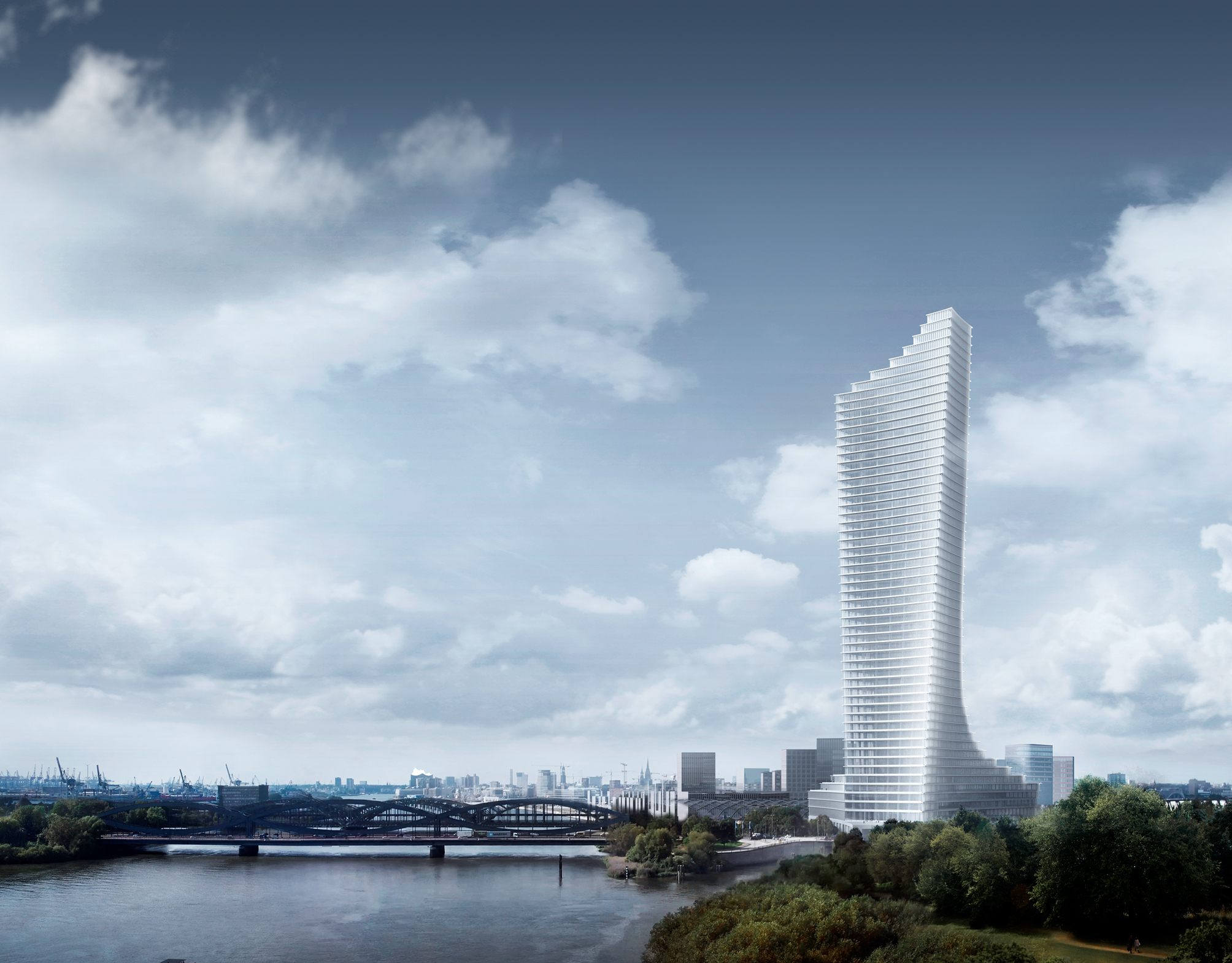 The Elbtower, as seen from the Elbpark. Copyright: SIGNA Chipperfield for HafenCity Hamburg GmbH.