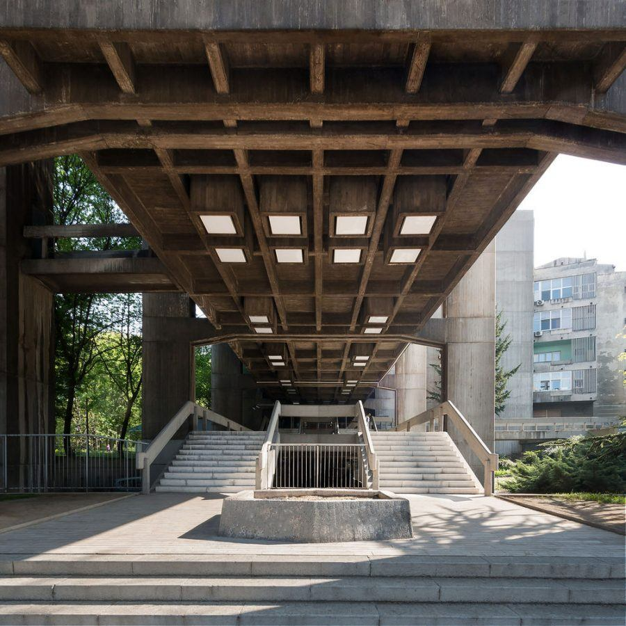 The present condition of the entrance to the Institute of Urban Planning, by Branislav Jovin, 1968-70. Copyright: Relja Ivanić.