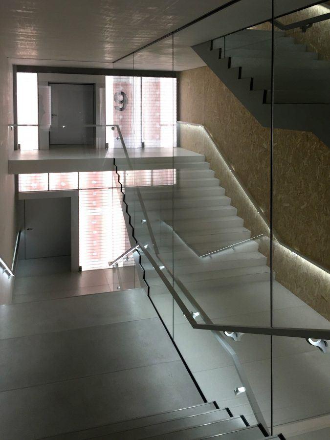 The double staircase in Torre - Fondazione Prada by OMA. Copyright: Carlo Berizzi.