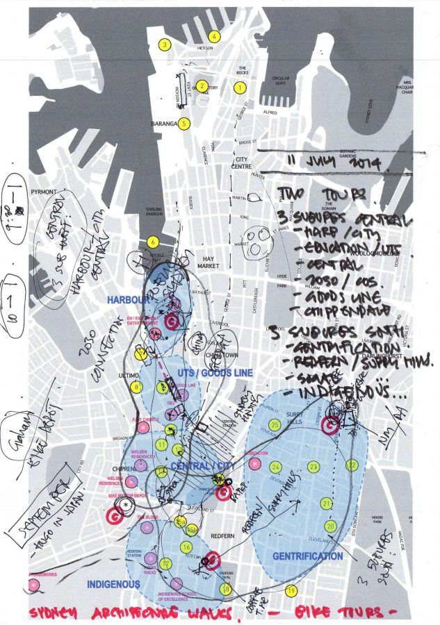 Map of a new Sydney bicycle tour - Guiding Architects