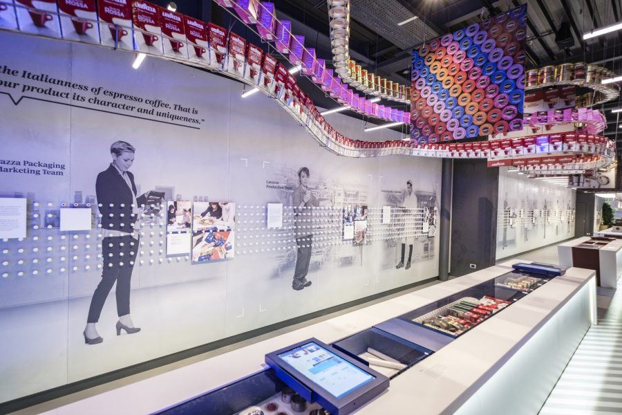 Inside view of the Lavazza museum's store - Guiding Architects