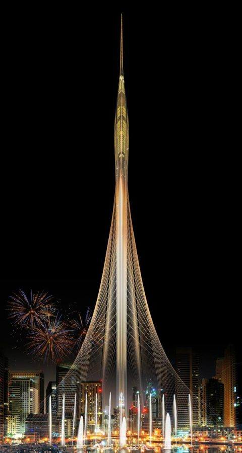 View of the Dubai Creek Tower Night Visual by EMAAR - Guiding Architects