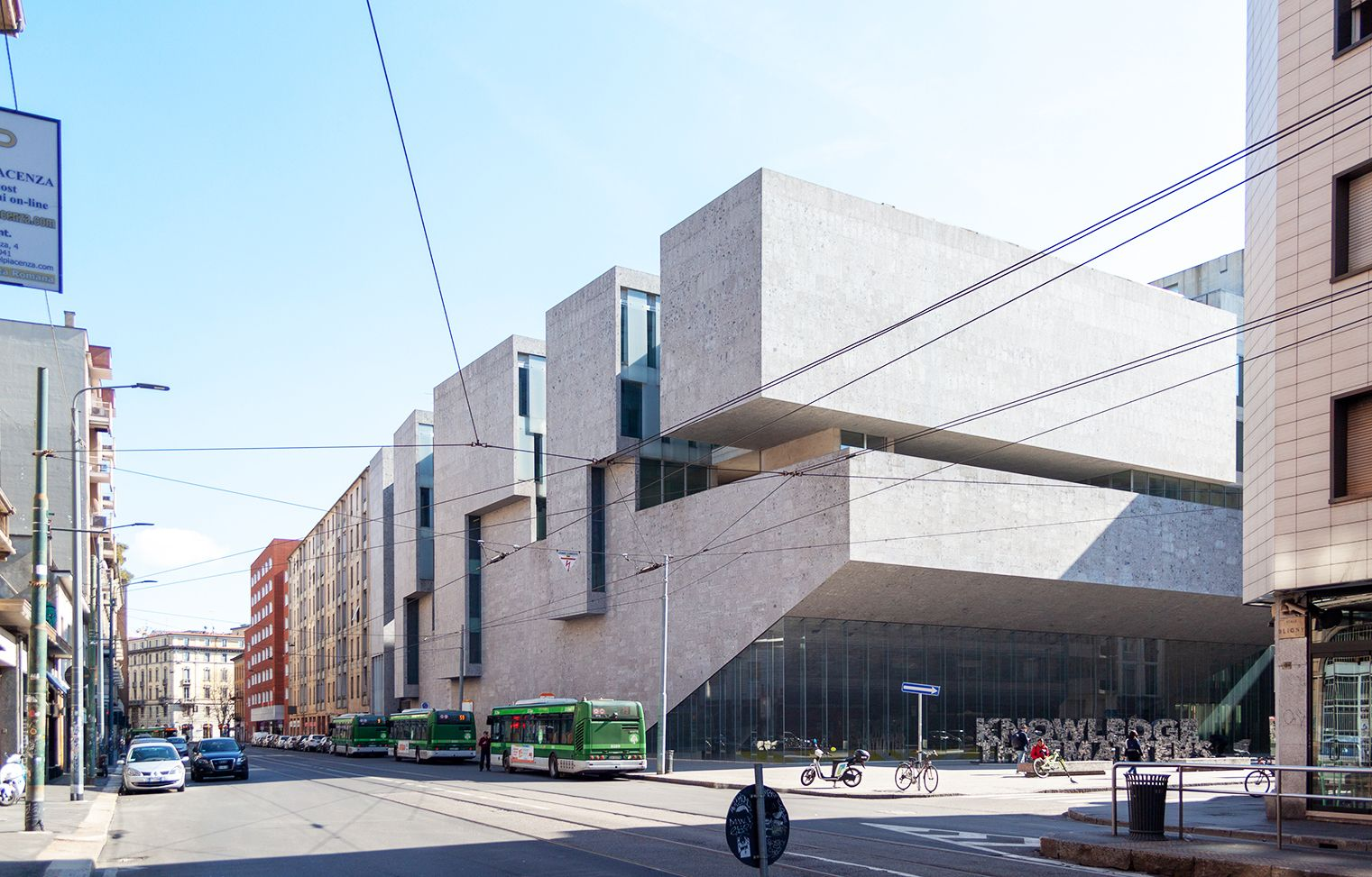 Main front on Bligny avenue. Grafton Architects, Bocconi University, Milan