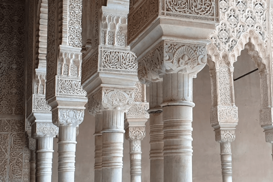Court of the Lions, Alhambra, Granada, Spain (1391), Commissioned by Muhammed V of the Emirate of Granada in Al-Andalus. Photo by ©Blanca Espigares Rooney, GA Granada, Guiding Architects