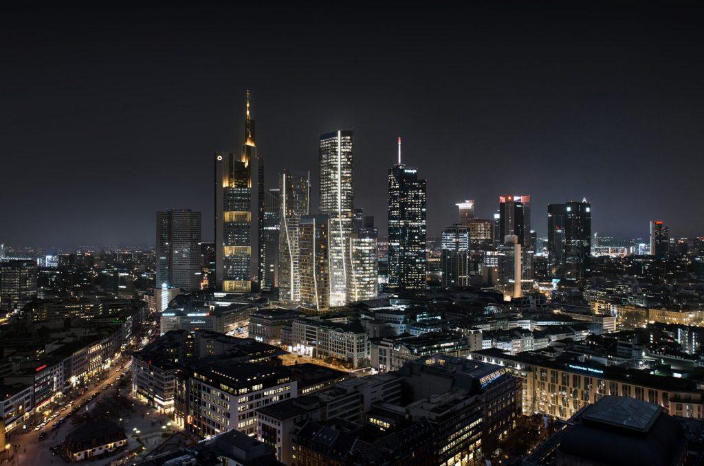 Rascacielos en Frankfurt: FOUR Frankfurt Skyline by night. Photo by ©UN_Studio / Groß & Partner
