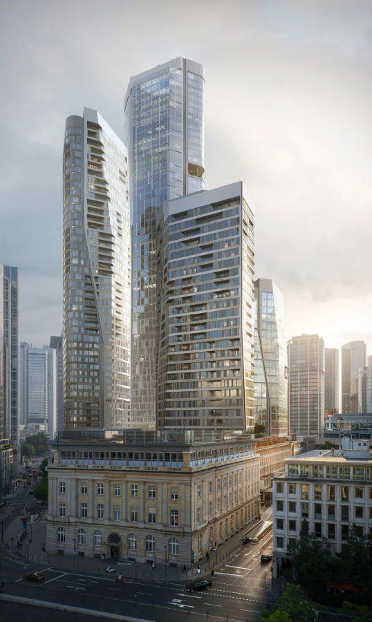 Rascacielos en Frankfurt: FOUR Frankfurt with listed Deutsche Bank building. Photo by ©UN_Studio / Groß & Partner