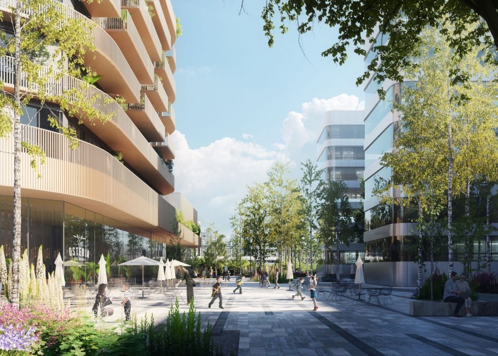 Rascacielos en Frankfurt: New Square in front of the Icoon. Photo by ©Mecanoo