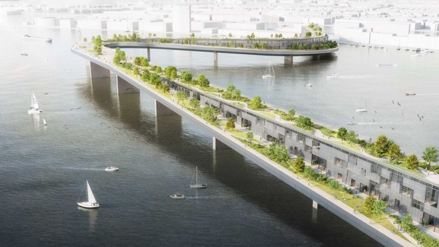 "Design for a ""living bridge"" across Het IJ."