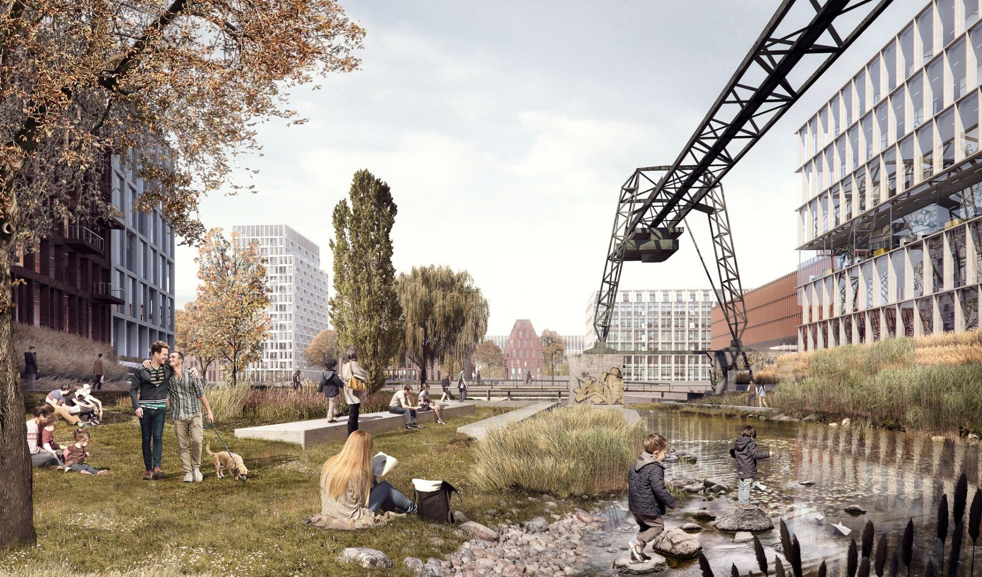 Old cranes, new architecture and water in the green areas: cobe's vision for the harbor transformation in Cologne. Photo by: ©cobe